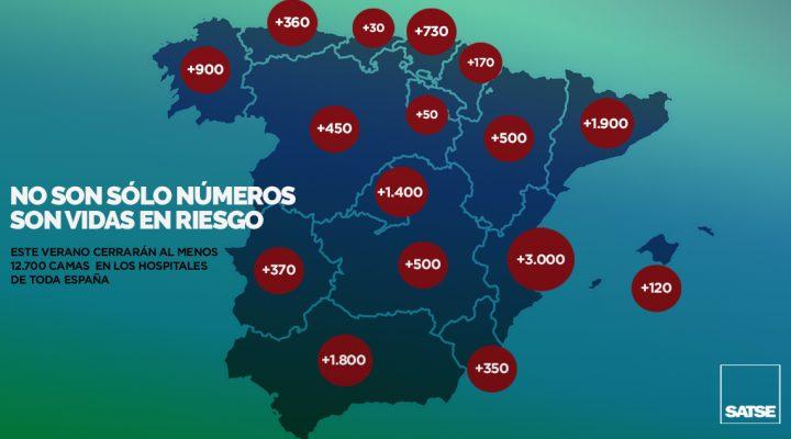 SATSE denuncia el cierre de más de 12.700 camas en verano en los hospitales de España