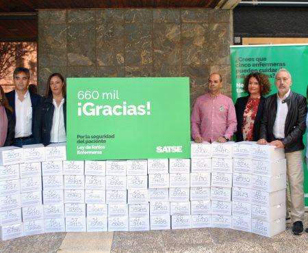 SATSE entrega más de 660.000 firmas para que el Congreso debata una Ley de Ratios Enfermeras