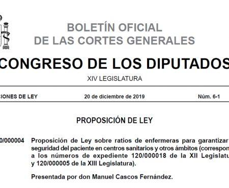 Boletín Oficial de las Cortes: Proposición de Ley sobre ratios de enfermeras
