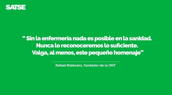 Preciosas palabras y sentido homenaje a las enfermeras por parte de Rafael Matesanz