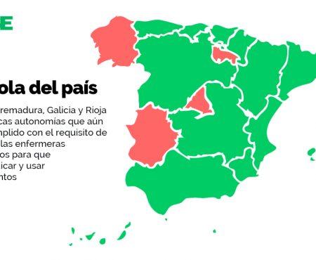 Madrid, Extremadura, Galicia y Rioja siguen sin acreditar a sus enfermeras para vacunar con todas las garantías